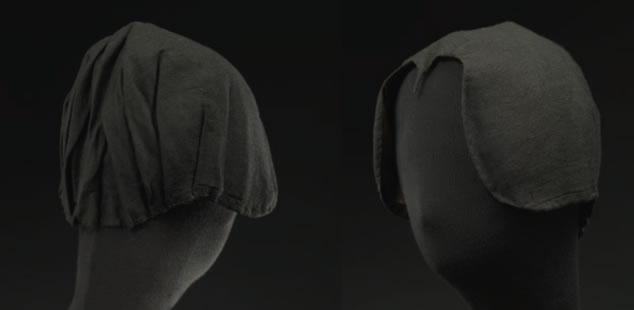 Black outer bonnet belonging to Agnes Baliques (1641-1700)