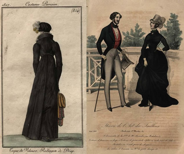 Fashionable redingote jacket in 1809 and black in fashion around 1838