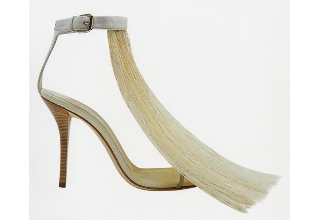 Helmut Lang high heels with pony hair fringe