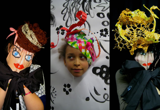 Imaginary hats designed at the MoMu School