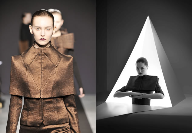 Metallic bronze and black little jackets from Bruno Pieters' Autumn/Winter 2009/2010 collection