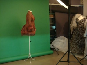 Historic dresses from the Jacoba de Jonge collection in line-up for the shoot, 2012 (c) MoMu