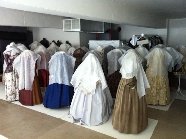 Historicall dresses from the Jacoba de Jonge collection, lined-up for the expo Living Fashion