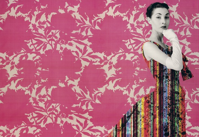 Campaign image Silk & Prints from the Abraham archive - Couture in Colour (13/03 until 11/08/2013) at MoMu - Fashion Museum Antwerp. Cristobal Balenciaga, winter 1955/56. Photo: Tom Kublin. Graphics: Paul Boudens