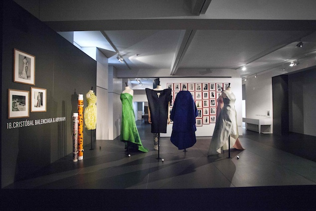 Dresses by Cristobal Balenciaga featuring the expo Couture in Colour at MoMu Antwerp, 2013, Photo: Boy Kortekaas