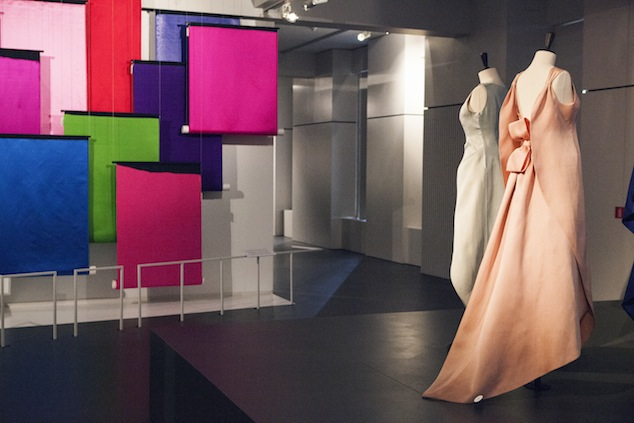 Silhouettes by Cristobal Balenciaga featuring in the expo Couture in Colour, MoMu Antwerp, 2013, Photo: Boy Kortekaas