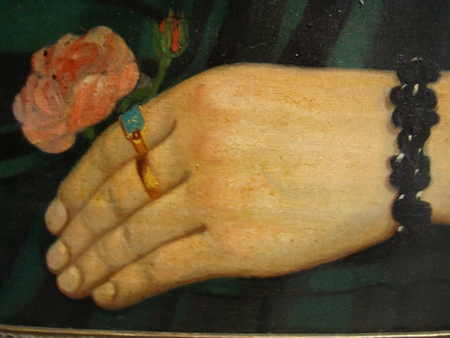 Detail from the portrait of Félicitée Joseph Duvivier, 1855, painted by Jean-Baptiste Taquin