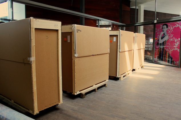 MoMu cases ready to be shipped to RMIT Design Hub in Melbourne