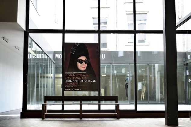 Diane Pernet's ASVOFF#6 ANTWERP poster in the hallway of the MoMu, 2013, Photo: Suzan Rylant