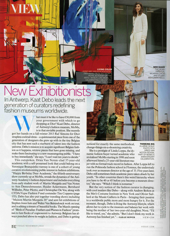 Kaat Debo, director MoMu Fashion Museum Antwerp in Vogue USA