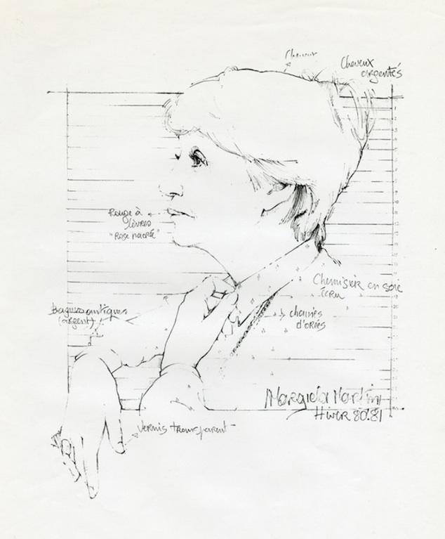 Portrait of Mary Prijot drawn by Martin Margiela, 1980-81, © Margiela/MoMu