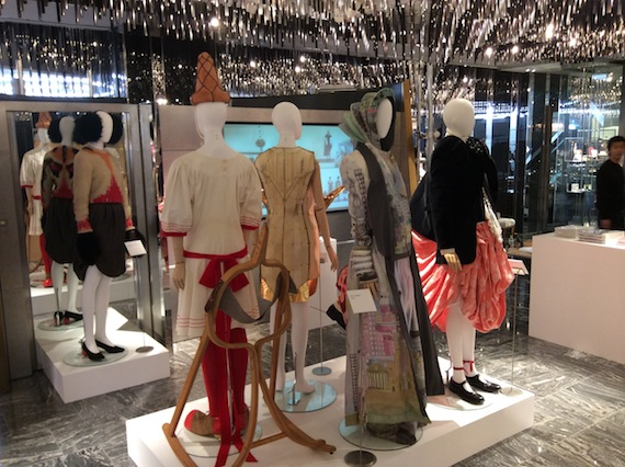 Silhouettes by Koji Arai, Mikio Sakabe, Yuima Nakazato and Kanya Miki at MoMu Antwerp installation 50 Years Antwerp Fashion Department at Isetan Tokyo