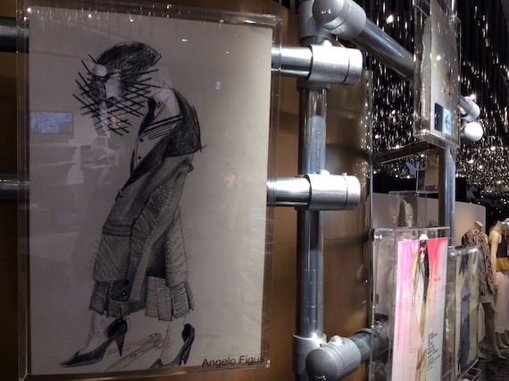 Drawing by Angelo Figus at MoMu Antwerp installation 50 Years Antwerp Fashion Department at Isetan Tokyo