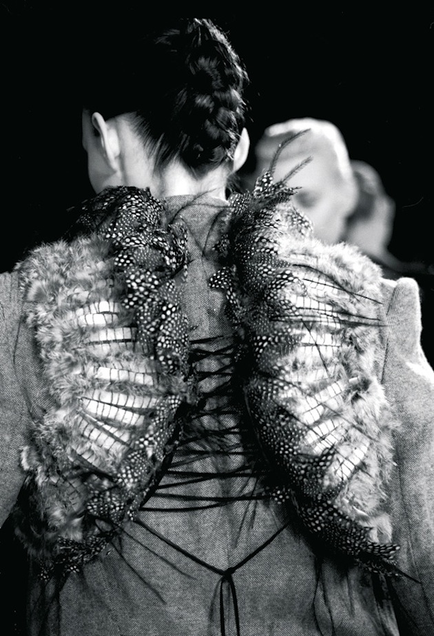 Haider Ackermann, A/W 2006-2007. Silhouette with pheasant feathers. Photo: Marleen Daniëls