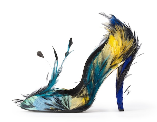Roger Vivier, A/W 2012-2013, Blue Angel, pump in leather, satin silk, man-made fibre, coloured chicken feathers. Photo: © Roger Vivier