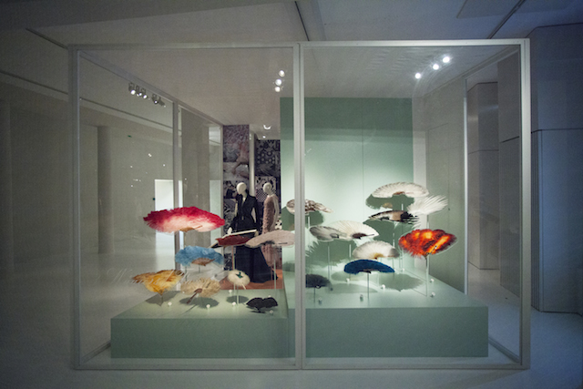 Feather fans at the Birds of Paradise at MoMu Fashion Museum Antwerp, Photo: Boy Kortekaas