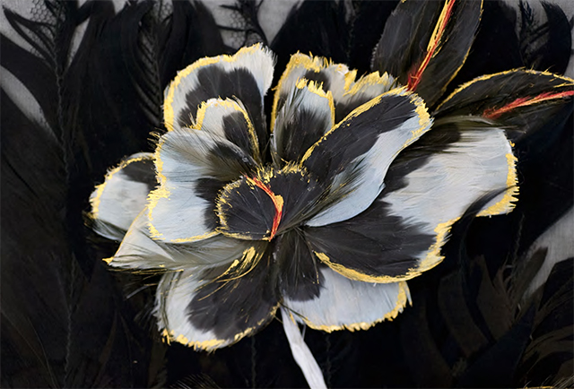 Appliqué flower motif of cock, goose, ostrich and chicken feathers created by Maison Lemarié, Paris (c) Vincent Lappartient for Maison Lemarié, Paris