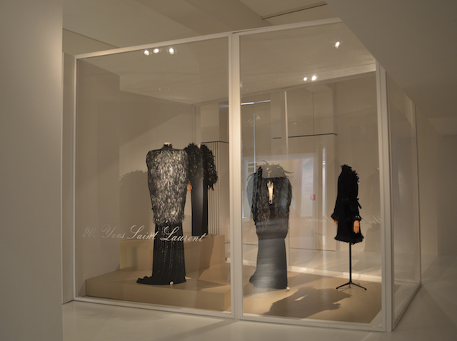 Group of silhouettes by Yves Saint Laurent at the Birds of Paradise expo MoMu Antwerp, Photo: Monica Ho