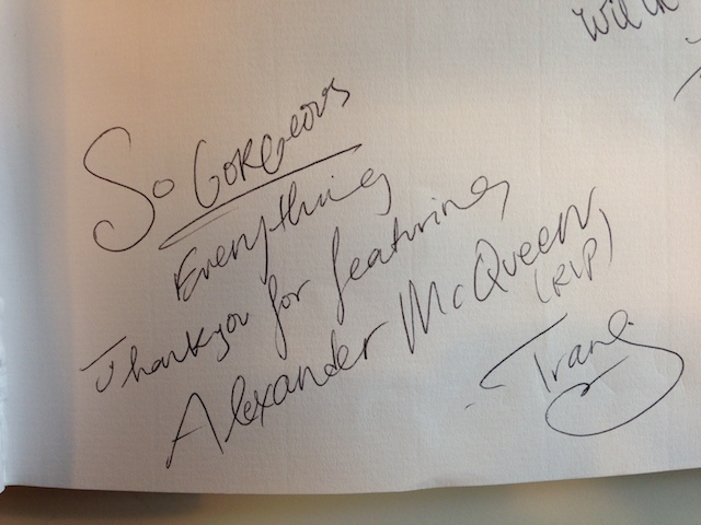 Ode to Alexander McQueen in the Birds of Paradise guestbook