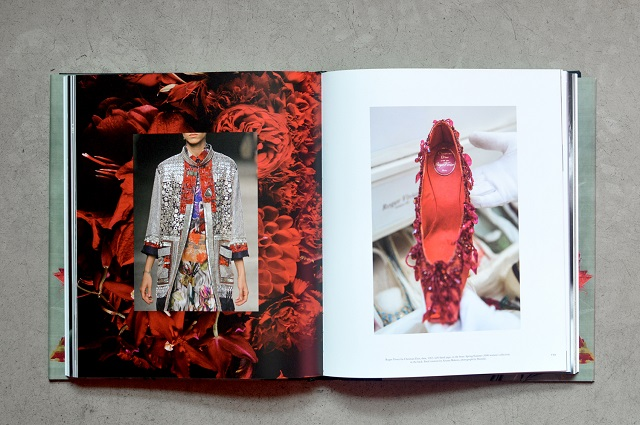 Left: Dries Van Noten, S/S 2008 and floral creation by Azuma Makoto. Right: Roger Vivier for Christian Dior, 1963