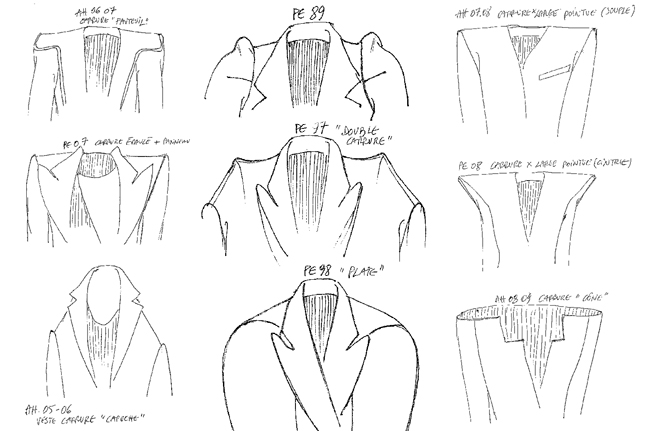 Shoulder sketches by Martin Margiela