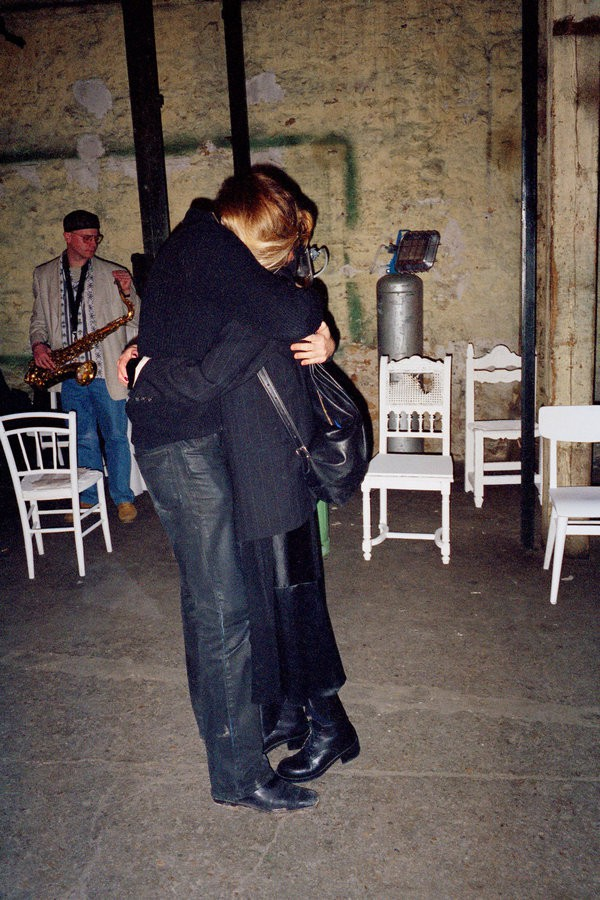 Photo: Martin Margiela and Jenny Meirens, embracing at a surprise birthday party for Meirens in 1995. Credits: Anders Edstrom